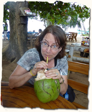 fresh coconut drink, Cambodia