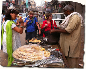 Enjoy market food in India, Delhi, India