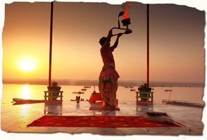 Varanasi, evening prayers (Aarti) on the ghats of Ganges, India
